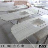 Dissipador de superfície contínuo da vaidade do banheiro da pedra da resina de Kkr