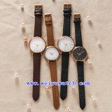 Relógios do clássico do OEM do relógio da cinta de couro para os pares (WY-G17010B)
