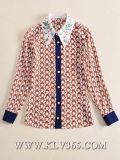 Camicia lunga di seta della camicetta del manicotto del progettista delle donne delle signore di modo di estate all'ingrosso della molla