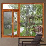 خشب ورد زجاجيّة يرقّق ألومنيوم قطاع جانبيّ نافذة