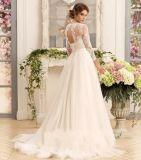 Vestido de casamento simples A do laço - linha vestido de casamento nupcial 2018 Ld11533 de Tulle do jardim da praia