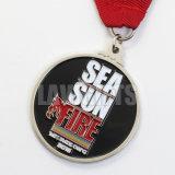 Médaille ovale diverse de médaillon de récompense de souvenir en métal de natation de sport du bâti en alliage de zinc fait sur commande le plus chaud avec la bande
