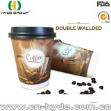 8 oz de papel de pared doble taza con tapa para el café caliente