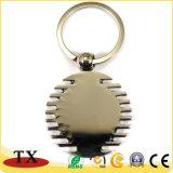 Souvenirs de forme ronde en métal brillant de chaîne de clé avec paillettes de chiffrement