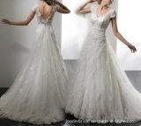 O tampão Sleeves o vestido de casamento perlado Tulle nupcial A17948 do laço do vestido