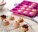 Moulage antiadhésif de gâteau de pain de silicones de forme de fleur, moules à gâteaux de silicones de 20 cuvettes