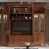 Gabinete de cozinha da despensa da mobília da sala de jantar da madeira contínua com gabinete do vinho