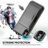 Caisse hybride protectrice antichoc de pochette en cuir mince par la carte de crédit de luxe noire de support pour Apple Iphonex 5.8 pouces