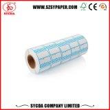 La escritura de la etiqueta termal en blanco auta-adhesivo utiliza extensamente la etiqueta engomada