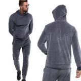 Men Track Suitsのための卸し売りGrey Casual Gym Jogging Suits Velvet Tracksuit