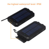 8000mAh de energía solar impermeable Brújula puerto USB Banco 2 Banco de potencia de luz LED