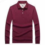 Planície da moda Camisa camisa de mangas longas camisa Polo para homens