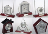 ハンドメイドの特別な方法クラフトの木の置時計A6042の温度計及び湿度計及びクロック