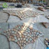 Pietra di pavimentazione esterna dell'ardesia dell'ardesia della pietra per lastricati del ventilatore di figura della pietra arrugginita della maglia
