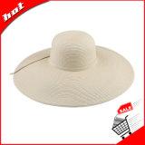 Chapéu largo de Sun do verão da palha da borda da trança de papel grande