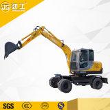 Mini máquina excavadora Excavadora de neumáticos con martillo rompiendo jg-80