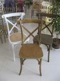 卸し売り屋内十字の編まれた木製のシートの椅子