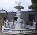 새겨진 대리석 정원 샘