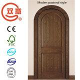 O ambiente verde clássico é uma porta de madeira pura