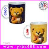 Mayorista de regalos promocionales de la fábrica de cerámica de cambio de color taza de recuerdos