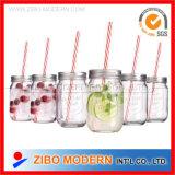 Straw Lidの卸し売り16oz Glass Mason Jars
