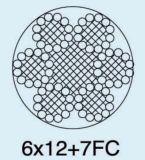 직류 전기를 통한 철강선 밧줄 6X12+7FC