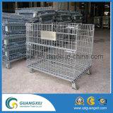 Caixa de armazenamento Foldable da gaiola do engranzamento de fio de aço com rodas