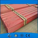 Folha de aço ondulada colorida aço galvanizada Prepainted PPGI da telhadura do zinco
