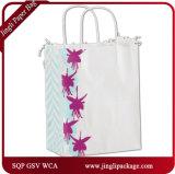 Sac à provisions Fuchsia Floral Shoppers Package Sacs en papier Eco Solid Kraft Sacs à main Brown Kraft avec poignée torsadée jaune