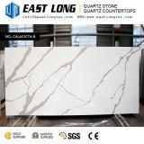 Ligne personnalisée de Brown pierre blanche de quartz de fond pour des partie supérieure du comptoir de panneau/cuisine de mur
