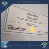 Certificato di timbratura caldo della carta di sicurezza della stagnola di oro
