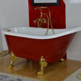 Klassische acrylsauerbadewanne mit Füßen und roter Farbe (BG-7006K)