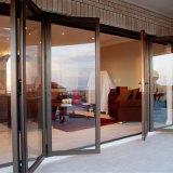 Doubles portes d'accordéon en verre en aluminium glacées extérieures