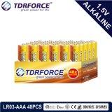 Pile alcaline primaire 1.5volt sec avec ce/ISO 48pcs/boîte de 5 ans Durée de vie (LR03/AM-4/AAA)