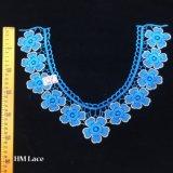 Applique ricamato collana a foglie rampanti floreale blu dell'indumento di 36*26cm, collare Hme970 del merletto del giogo dell'oro