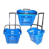 Panier bon marché de plastique d'achats de panier de traitement de deux roues