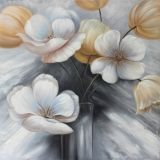 Neue Ankunfts-schöne Blumen im Vasen-handgemachten Ölgemälde
