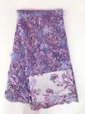 Tecido de Renda Líquida de Vendas a quente com cordões 3D Flores tecido suave para casamento /Vestido de festa