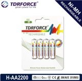 (AA/HR6) longue batterie de durée de vie du nickel 2700mAh d'hydrure rechargeable en métal avec Ios9001 pour le microphone
