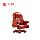 Bois de conception en cuir de luxe Untique Ordinateur de bureau Chaise en bois (FOH-B29-1)