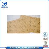 La coutume a estampé l'étiquette adhésive imperméable à l'eau de collant de papier d'emballage