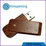 최고 가격 회전대 호두 목제 USB 지팡이 기억 장치