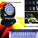De Hete Verkoop van Gbr! DMX512 LEIDENE Was die het HoofdLicht van het Gezoem van 60 Graad RGBW 10 bewegen