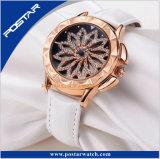 Relógio de pulso delicado da cinta de couro das mulheres do diamante original especial