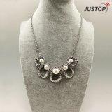 Pearl полого-out заявление ожерелье с сплава в серебристый цвет Platinum для женщин