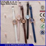 Relógio de forma ocasional da mulher de quartzo da cinta de couro (Wy-133D)