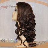 A máquina fêz a cor de Brown escuro a peruca judaica Curly (PPG-l-0783)