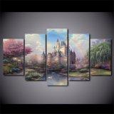 HDは5増しじんの芸術のCinderellasの城の絵画壁の芸術の居間の装飾プリントポスターを印刷した