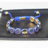 O couro gravado personalizado do zodíaco perla o bracelete