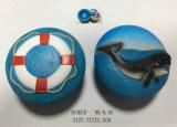 Caja de regalos de recuerdo de resina con los delfines y timón